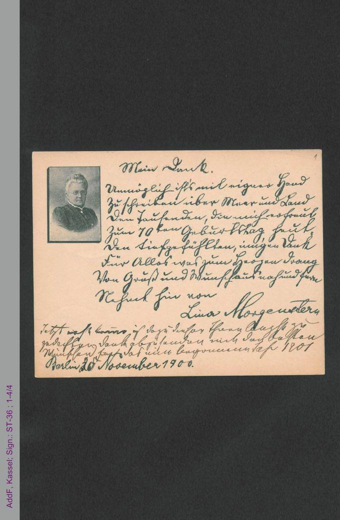 Briefkarte von Lina Morgenstern an unbekannt, hs. / Seite 1