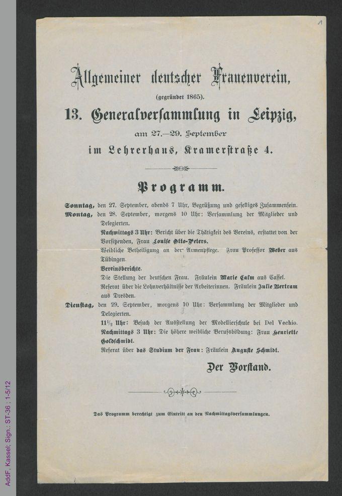 Programmzettel zur 13. Generalversammlung des Allgemeinen Deutschen Frauenvereins / Seite 1