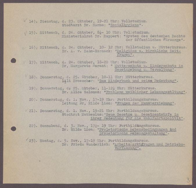Themen und Lehrende der Arbeitsgemeinschaften 1928/29 : Themen und Lehrende der Arbeitsgemeinschaften 1928/29