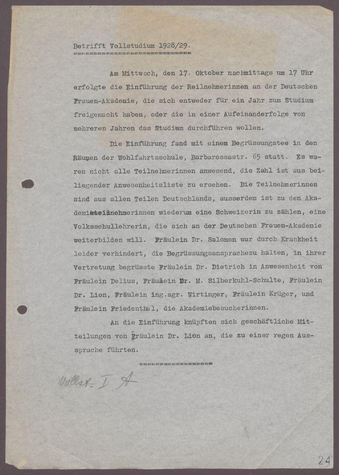 Einführungsverantsaltung Vollstudium 1928/29 : Einführungsverantsaltung Vollstudium 1928/29