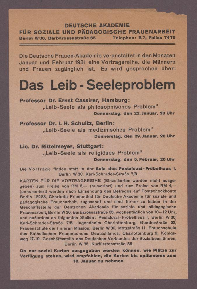"""Ankündigung Vortrag Ernst Cassirer 1931 """"Das Leib-Seelenproblem : Ankündigung Vortrag Ernst Cassirer 1931 """"Das Leib-Seelenproblem"""""""