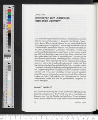 """Reflexionen zum """"negativen lesbischen Eigentum"""""""