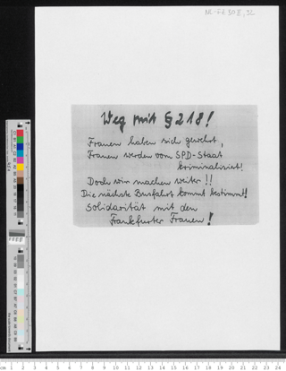 "Weg mit § 218 ! ... Solidarität mit den Frankfurter Frauen"""
