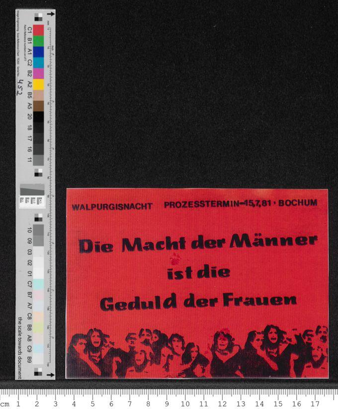 """""""Walpurgisnacht Prozesstermin 15.7.1981 - Die Macht der Männer ist die Geduld der Frauen"""" / Seite 1"""