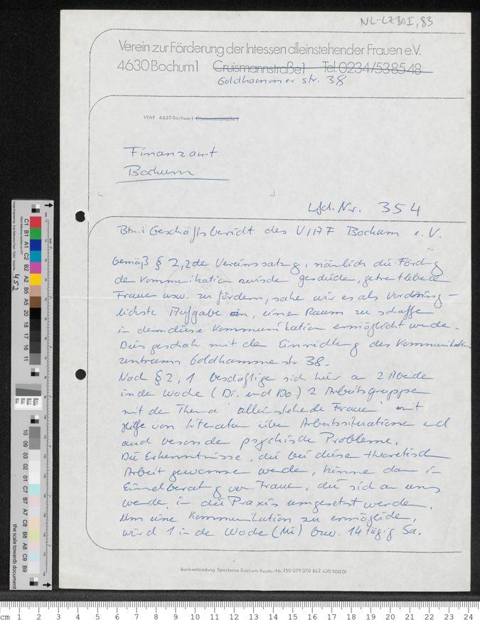 """Verein zur Förderung der Interessen alleinstehender Frauen e.V. (VIAF), Bochum Goldhammerstr. 38 [sic!]: Schreiben an das Finanzamt Bochum, """"Betr. Geschäftsbericht des VIAF Bochum e.V."""""""