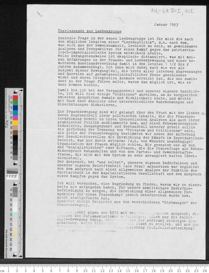 Überlegungen zur Lesbengruppe / Seite 1