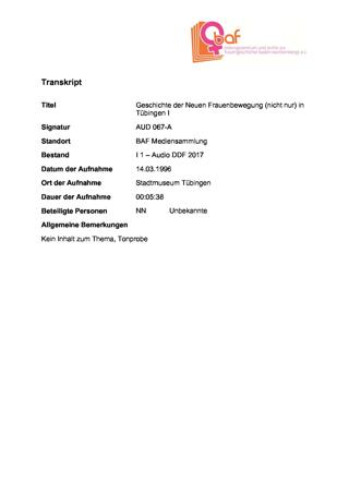 """""""Geschichte der Neuen Frauenbewegung (nicht nur) in Tübingen"""", Erzählcafé 1b zur Ausstellung """"08. März"""" im Tübinger Stadtmuseum"""