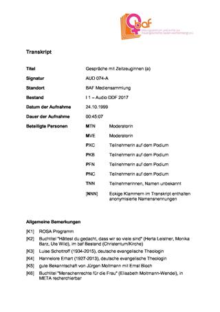 """""""30 Jahre Neue Frauenbewegung in Tübingen"""" , Podium 1/2 mit Moltmann-Wendel, Balbarischky, Alfonsi, Barz zur Ausstellung """"In Bewegung"""" in der Tübinger Kulturhalle"""