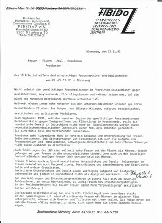 Frauen - Flucht - Asyl - Rassismus : Resolution des 18. Arbeitstreffens deutschsprachiger Frauenarchive- und bibliotheken vom 20.-22.11.92 in Nürnberg