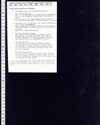 Programmpunkte BFL für die Bürgerschaftswahl im Jahr 1995