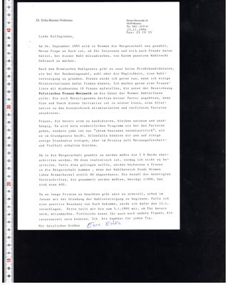 Brief an die Kollegionen zur Wahl der Bremischen Bürgerschaft