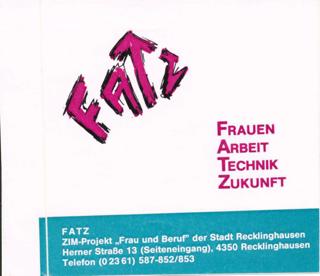 """Eigenwerbung des FATZ ZIM-Projektes """"Frau und Beruf"""" der Stadt Recklinghausen"""
