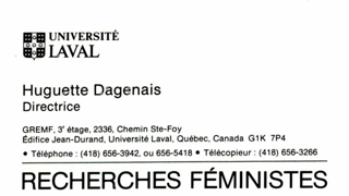 Visitenkarte Huguette Dagenais, Universität Laval, Quebec