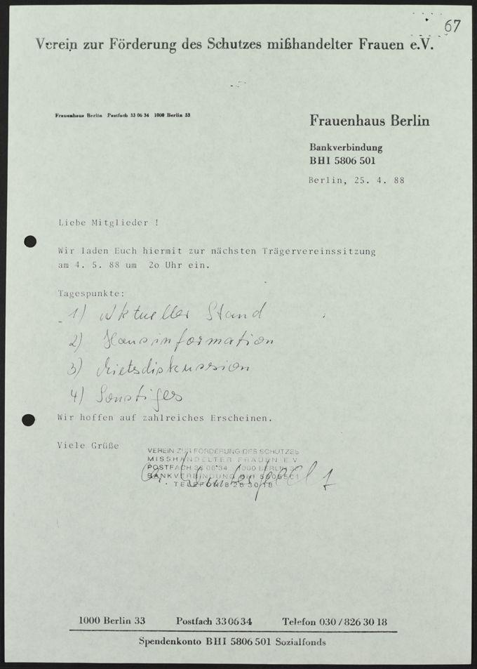 Einladung vom 25.04.1988 zur Sitzung des Trägervereins am 4.5.1988