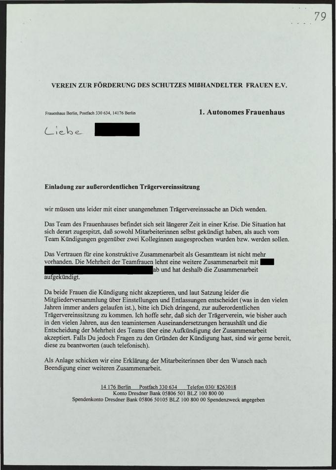 Einladung zur außerordentlichen Trägervereinssitzung aufgrund von Konflikten im Frauenhaus-Team / Seite 1