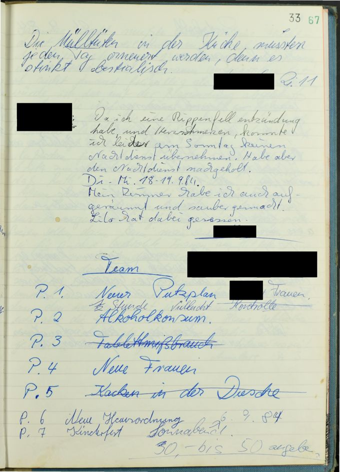 Das Beschwerde- und Meckerbuch von 1985 zeigt die Probleme im überfüllten Haus / Seite 1