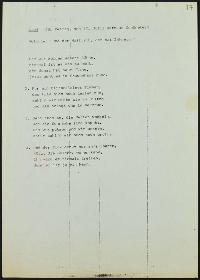 Selbstgeschriebener Liedtext für eine Veranstaltung im Rathaus Schöneberg am 22.7.?