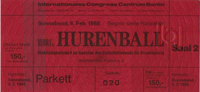 Eintrittskarte zum Hurenball am 6.2.1988