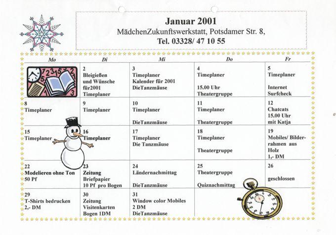 MädchenZunkunftswerkstatt Veranstaltungen 2001