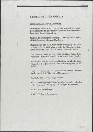 Lebensdaten Ulrike Meinhofs