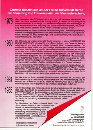 Zentrale Beschlüsse an der FU Berlin zur Förderung von Frauenstudien und Frauenforschung