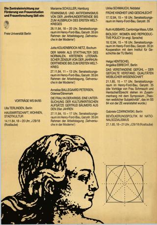 Vorträge von Wissenschaftlerinnen WS 84/85