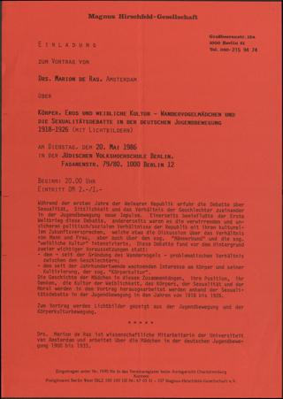 Körper, Eros, und weibliche Kultur - Wandervogelmädchen und die Sexualitätsdebatte in der deutschen Jugendbewegung 1918-1926