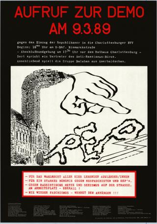 Aufruf verschiedener Gruppen, u.a. auch FFBIZ, zur Demonstration gegen Einzug der Republikaner in die Charlottenburger BVV