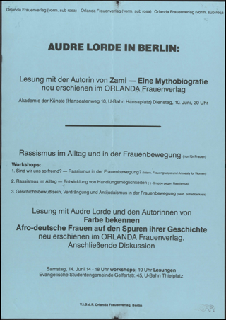 Andre Lorde in Berlin
