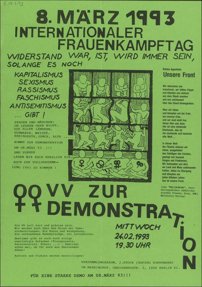 8. März 1993 - Internationaler Frauenkampftag