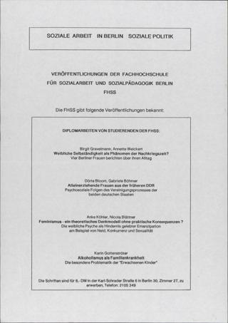 Veröffentlichungen der Fachhochschule für Sozialarbeit und Sozialpädagogik