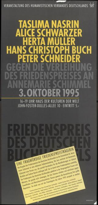 Gegen die Verleihung des Friedenspreises an Annemarie Schimmel