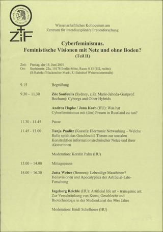 Cyberfeminismus\[W9]\Feministische Visionen mit Netz und ohne Boden (Teil II)