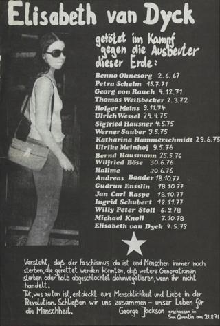 Elisabeth van Dyck: getötet im Kampf gegen die Ausbeuter dieser Erde (4.5.1979)