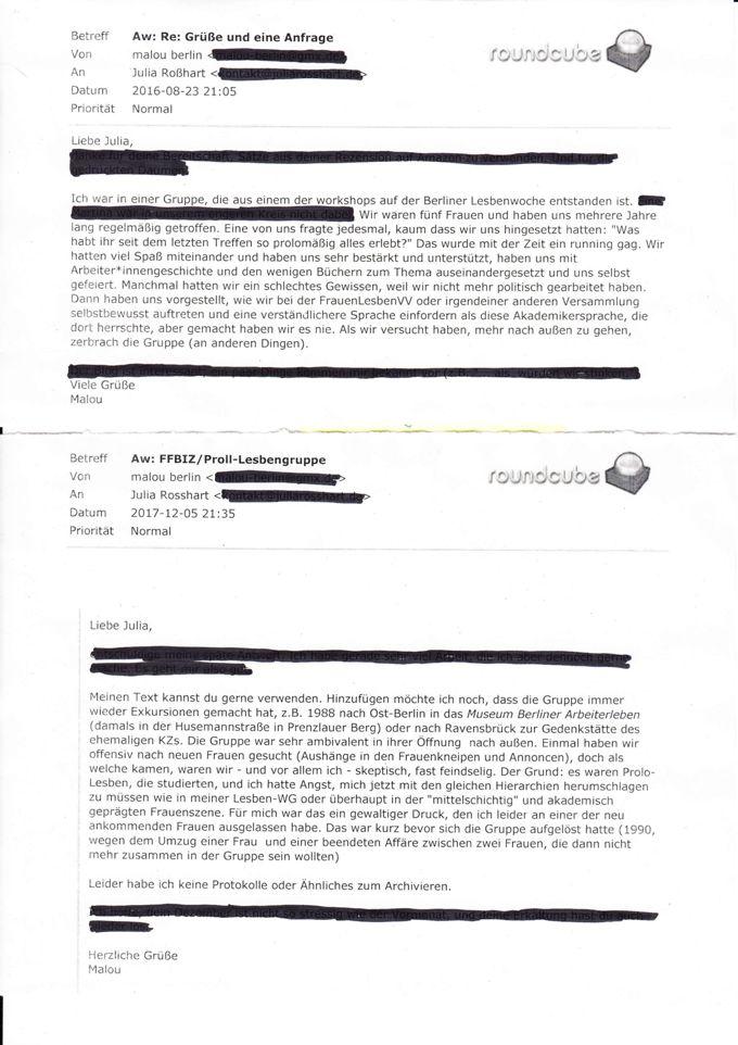 zwei E-Mails von Malou Berlin an Julia Roßhart betreff Proll-Lesbengruppe / Seite 1