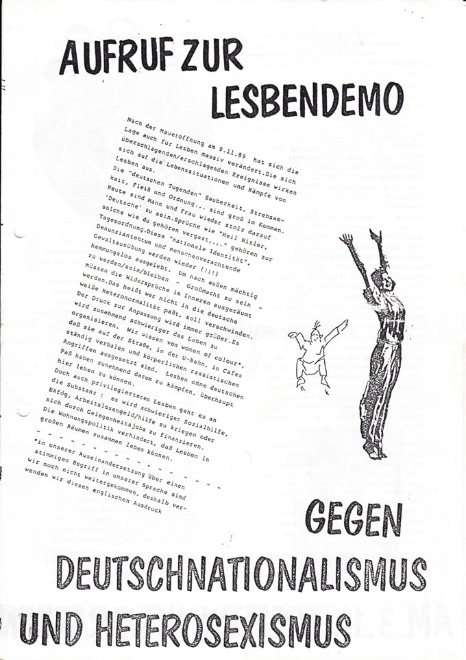 Aufruf zur Lesbendemo im Rahmen der Berliner Lesbenwoche 1990 / Seite 1