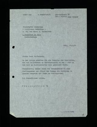 Schreiben an die Frankfurter Rundschau (Hr. Reifenrath)
