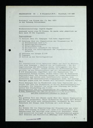 Protokoll vom Plenum am 13. Mai 1971