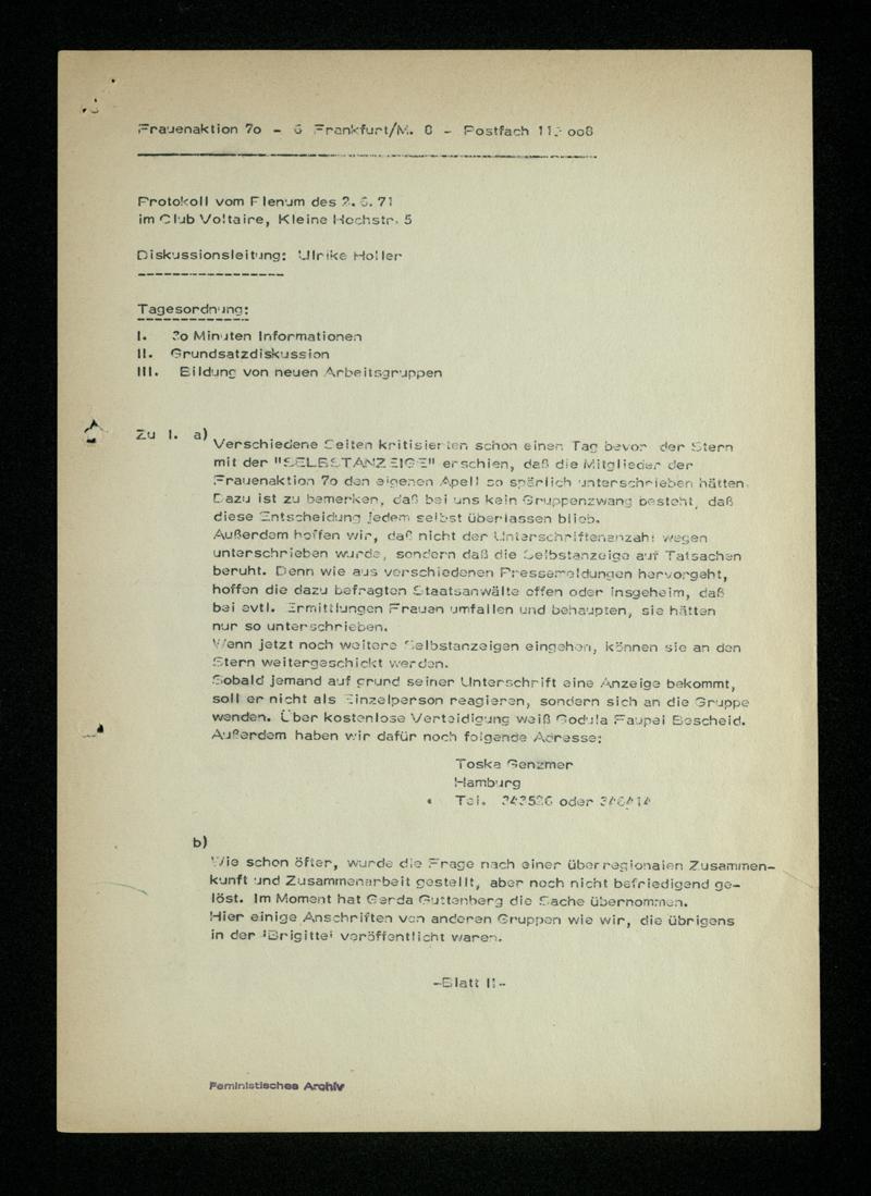 Protokoll vom Plenum am 2. Juni 1971 (im Club Voltaire)
