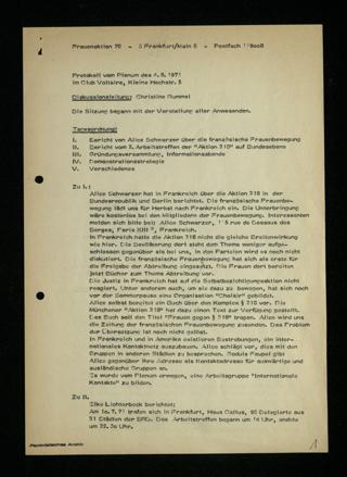 Protokoll vom Plenum am 4. August 1971 (im Club Voltaire)