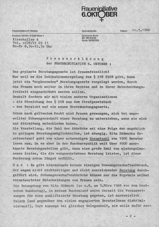 Presseerklärung der Fraueninitiative 6. Oktober