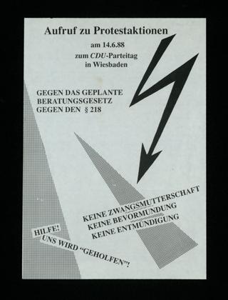 Aufruf zu Protestaktionen am 14.06.1988 zum CDU-Parteitag in Wiesbaden