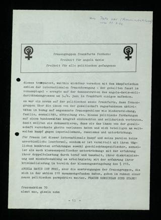 Frauengruppen Frankfurts fordern: Freiheit für Angela Davis