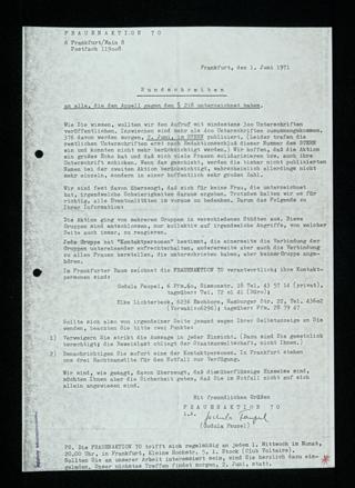 Rundschreiben an Unterzeichnerinnen des Appells gegen den §218