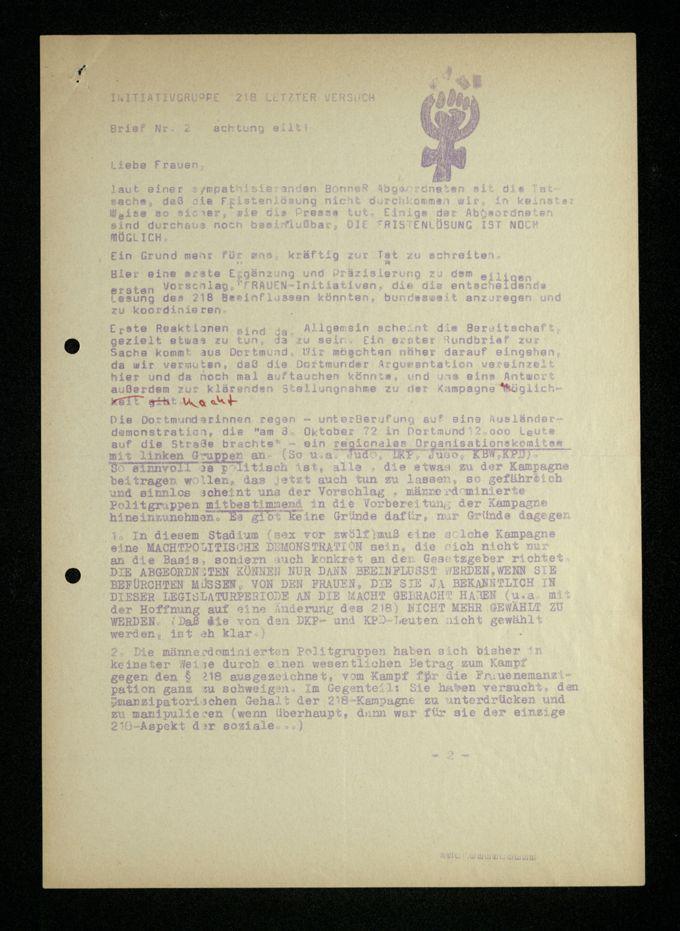 """Initiativgruppe """"218 Letzter Versuch"""" : Rundbrief Nr. 2"""
