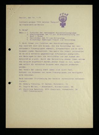 """Initiativgruppe """"218 Letzer Versuch"""" : Rundbrief Nr. 3"""
