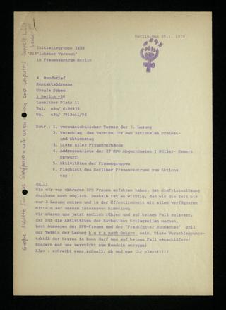 """Initiativgruppe """"218 Letzer Versuch"""" : Rundbrief Nr. 4"""