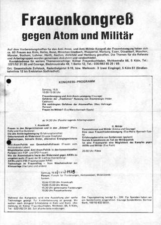 Frauenkongreß gegen Atom und Militär