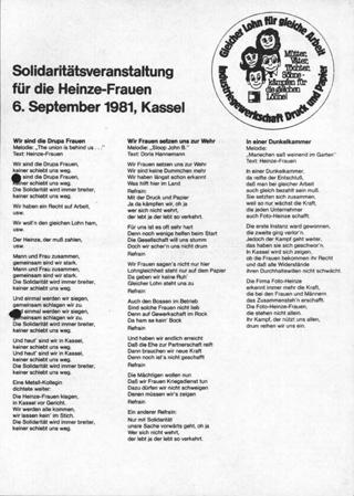 Solidaritätsveranstaltung für die Heinze-Frauen, 6. September 1981, Kassel