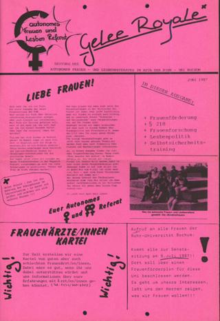 Gelee Royal - Zeitung des Autonomen Frauen- und Lesbenreferates im ASta der Ruhr-Uni Bochum